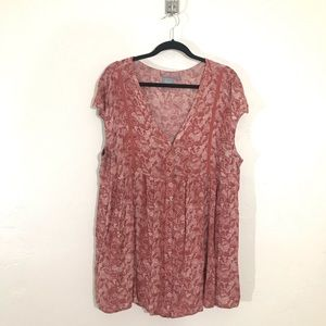 Anthropologie Brick Red Ladder Lace Tunic Size L